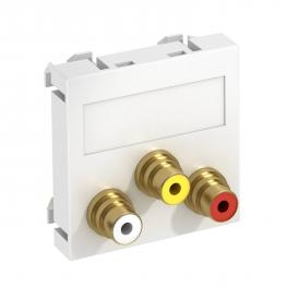 Audio/video cinch connection, 1 module, straight outlet, as soldered connection, pure white