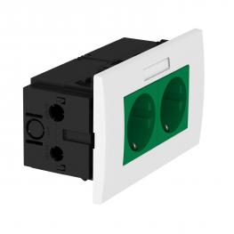 AR45 socket unit, double, with labelling panel for horizontal device installation