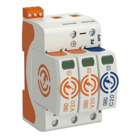 Surge arrestor V20, 2-pole + NPE and FS, 150 V