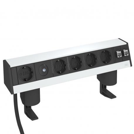 Deskbox DB, with fastening clamp, 1+4 switched sockets, 2x RJ45 Cat. 6