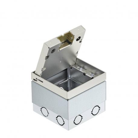 UDHOME2 floor socket, with floor covering recess in stainless steel lid, freely equippable